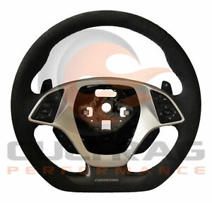 2014 2019 C7 Corvette D Shaped Steering Wheel Automatic Suede Black Stitching