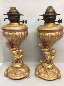 Pair Duplex Wick Gold Painted Figural Oil Lamps 16 Tall