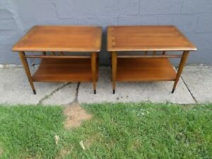 2 Mid Century Danish Modern Lane Acclaim Dovetail Walnut End Side Tables