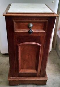 Unique Wooden Antique Stand Cabinet End Table With Marble Top Lockable