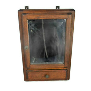 Vintage Kitchen Apothecary Bathroom Wall Cabinet Beveled Glass Mirror Oak Heavy