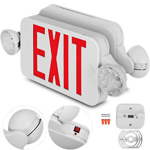 4 Pack Emergency Lights Red Exit Sign W dual Led Lamp 4 Pack Dual Heads Schools