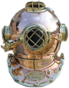 Vintage Copper Shine Diving Helmet U S Navy Mark V Deep Sea Divers Boston 18