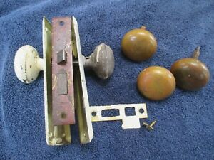 Lot Of Vintage Mortise Door Lock 2 Back Plates 4 Brass Knobs Original Old