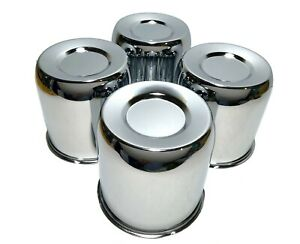4 Chrome Push Through Center Caps For 4 25 Center Bore Auto Trailer Wheel Rim