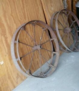 Antique Vintage Metal Farm Wagon Planter Wheels 29 Diameter