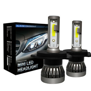 2 X H4 Led Car Headlight Conversion Kit Cob Bulb 110w 30000lm White Power 6000k
