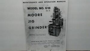 Moore 3 g18 Jig Grinder Maintenance Operation Parts Manual