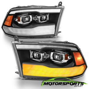 For 2009 2018 Dodge Ram 1500 2500 3500 Black Led Drl Dual Projector Headlights