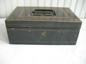 Antique Vtg Bank Enamel Metal Box Vtg Black Tin Cash Deed Strong Tole Painted 2