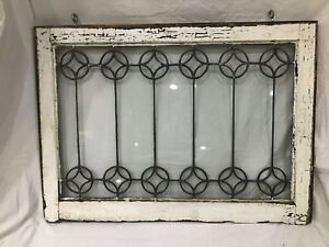 Rare Large Leaded Glass Window 19th Century Exceptional Condition