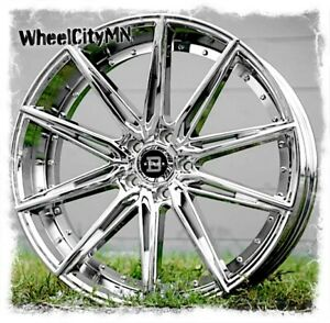 24 Inch Chrome Blade Barrett 459 Wheels Fits Dodge Charger Challenger 5x115 15