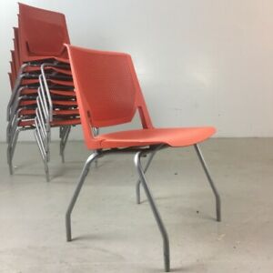 8 Stackable Haworth very Side Chairs Tomato Red Office Guest Conference
