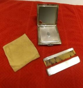 Antique English Hallmark Sterling Silver Compact Comb Suede Pouch Grooming Kit
