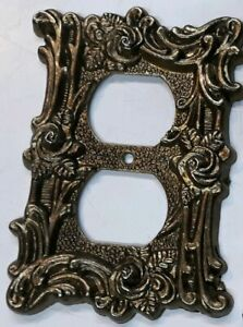 Vintage Brass At Hc 60d Outlet Cover Floral Plate 1960 S Edmar Victorian Style