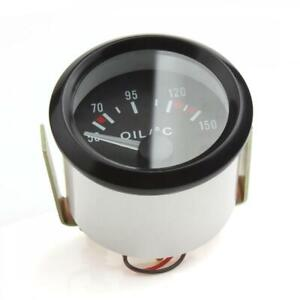Universal Black 2 52mm 12v Led Oil Temp Temperature Gauge Meter 150 W Sensor