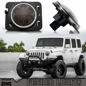 For Jeep Wrangler Jk Led Fender Marker Flare Side Light Yellow Smoke Lens