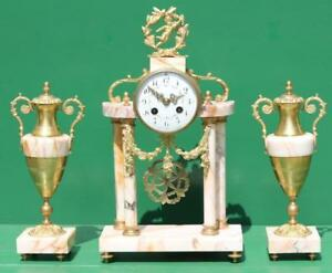 Antique French Portoco Garniture Clock Set