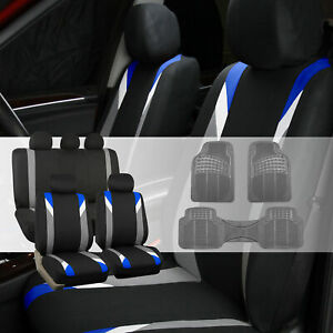 Car Seat Cover Set For Auto Sporty Blue W Gray Rubber Floor Mats