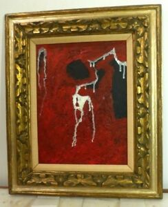 Vintage Abstract Modernist Oil Painting Mid Century Modern Signed 1960s