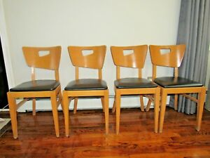 Danish Modern Bentwood Maple Dining Chairs Set Of 4 By Falcon