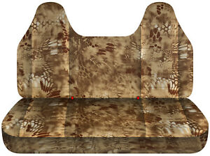 Fits 92 04 Ford F150 Truck Seat Covers Kryptek Camouflage Tan Molded Headrest
