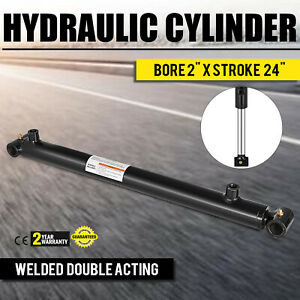 Hydraulic Cylinder 2 Bore 24 Stroke Double Acting Steel Sae 6 Heavy Duty