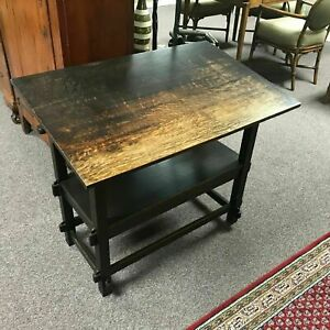 Rare Art S Crafts Mission Oak Hutch Table Bench Drafting Table