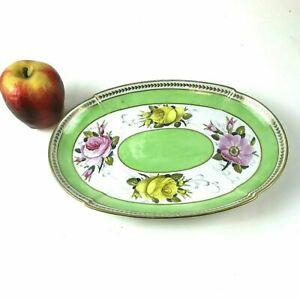 Antique 19th Century English Pearlware Serving Oval Plate With Gold Rose Flower
