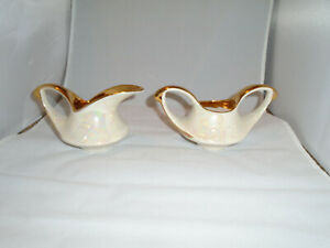 Vintage Pearl China Co Pearlized 22kt Gold Accent Sugar Bowl Creamer Set