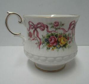 Queen S Fine Bone China Rosina China Co Tea Cup Floral Pink Bows No Saucer