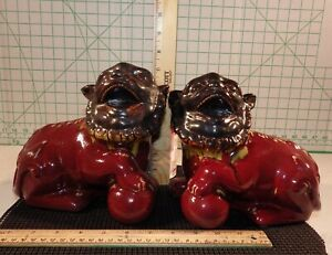 Vintage Pair Heavy Chinese Pottery Feng Shui Evil Door Guard Fu Foo Dog Lion