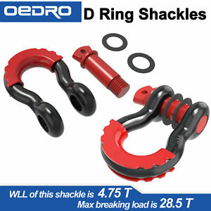 3 4 D ring Shackle 4 75t Black Towing Chain Bow Buckle W Red Isolators