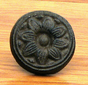 Set Of 6 Antique Reproduction Sunflower Drawer Pull Knob Cast Iron Brown