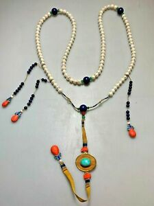Antique Chinese China Pearls Court Necklace 19 Thc Qing Dynasty Lapis Lazuli