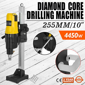 10 Diamond Core Drill Drilling Machine 4450w Industrial Rig Motor Feed Crank
