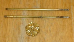 Antique Solid Brass Floral Curtain Tieback Holder W 2 Threaded Rods Germany