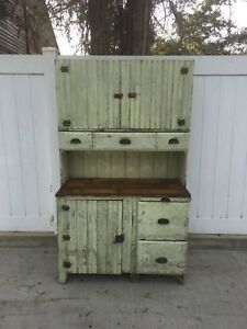 Aafa Antique Folk Art Wood Apothecary Cabinet Cupboard Original Paint Hoosier