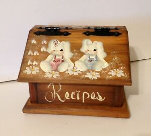 Large Handcrafted Wood Recipe Box Hand Painted Country Boy And Girl Bunnies