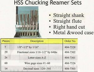 Chucking Reamers 7 Pc Set High Speed Steel All New