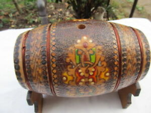 Very Rare Antique Old Hand Carved Wooden Canteen Flask Keg With Stand