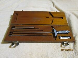 Brown And Sharpe Micrometer Wooden Box Set 0 To 6 Inch Range 359 10