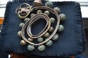 Antique Brass Petal Tulip Sleigh 21 Graduated Bells On 56 Leather Belt Strap