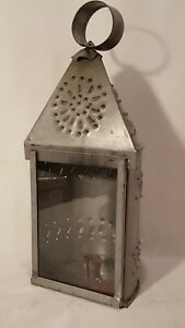Vintage Punched Tin Candle Lantern With Glass Window And Mounting Brackets