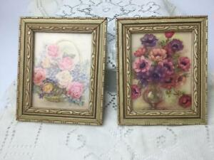 Vintage Small Wood Picture Frame Pair W Floral Flower Print Under Glass Set