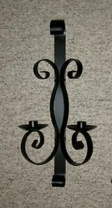 Vintage Wrought Iron Metal Wall Sconce Candle Holder 20 1 2 Satin Black