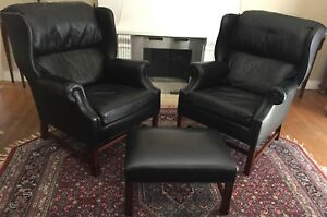 Hancock Moore Two Wing Chair And Ottoman Set