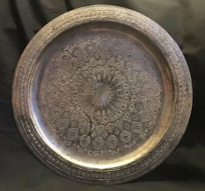Antique Vintage Middle Eastern Persian Etched Tinned Silvertone Copper Tray