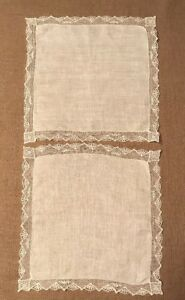 Beautiful Antique Silk Hankerchiefs Ivory White With Gorgeous Lace Set Of Two