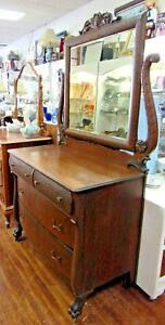 Antique Oak Dresser With Paw Feet Mirror And Harp
